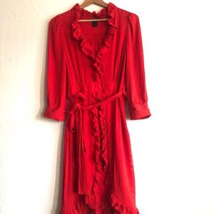 Marc by Marc Jacobs red ruffled belted silk dress